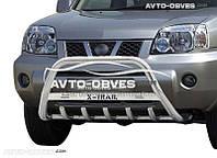 Кенгурятник для Nissan X-Trail T30 2003-2006 (логотип, AISI304)