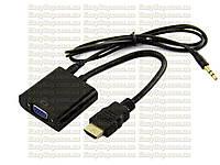 HDMI в VGA адаптер конвертер видео переходник на аудио звук с перехідник відео аудео T2