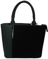 Зеленая женская  сумка с замшевым карманом, фото 1