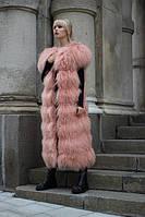 Удлиненный жилет из меха ламы нежно-розового цвета, длина 115см