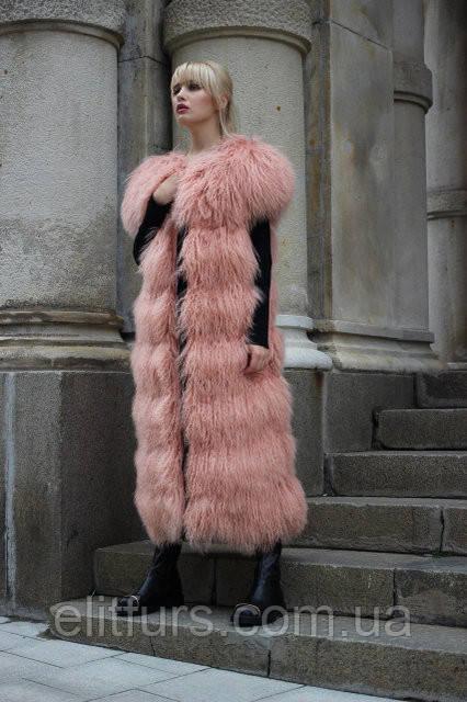 """Удлиненный жилет из меха ламы нежно-розового цвета, длина 115см - Интернет-магазин """"Джоконда""""  одежда и обувь оптом и в розницу  в Одесской области"""