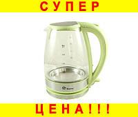 Стеклянный электро чайник Domotec MS-8112 Green