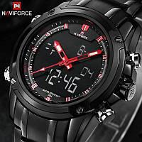 Мужские наручные часы Naviforce NF9050M Dual Movt Men Quartz Analog Digital LED