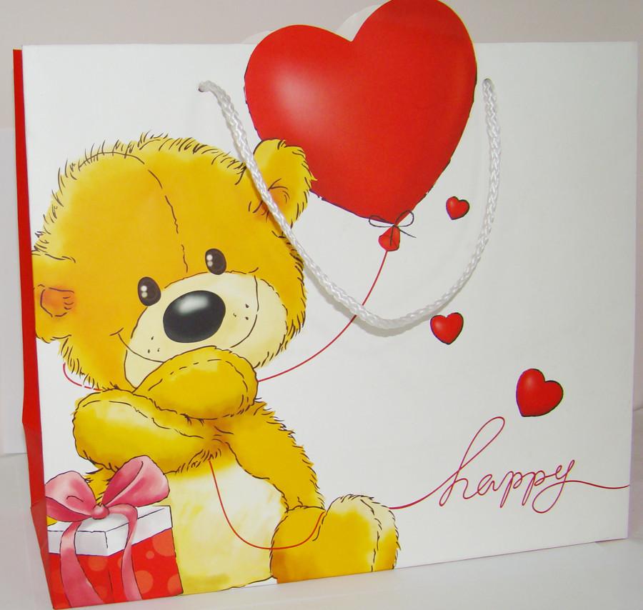 Пакет подарунковий картон Ведмедик 31х26х12 см