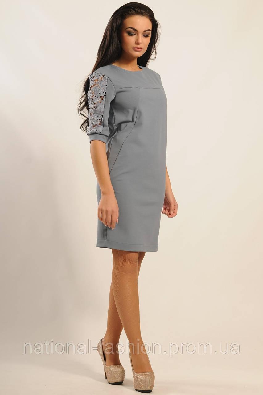 0b63b279266 Трикотажное платье с кружевом