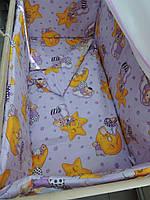 Детская постель с защитой в кроватку новорожденного.