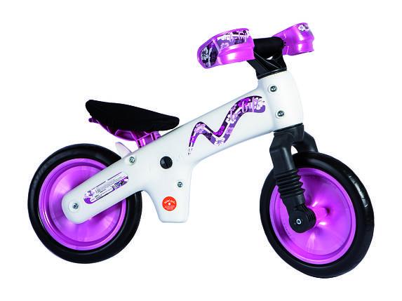 Велосипед (беговел) BELLELLI B-Bip обучающий 2-5лет, пластмассовый, белый с розовыми колёсами, фото 2