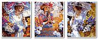 Картина-раскраска Турбо Триптих Кружевные зонтики (VPT017) 50 х 120 см