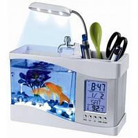 Настільный USB-акваріум з годинником, термометром, підсвіткою / Настольный ЮСБ-аквариум с часами и термометром