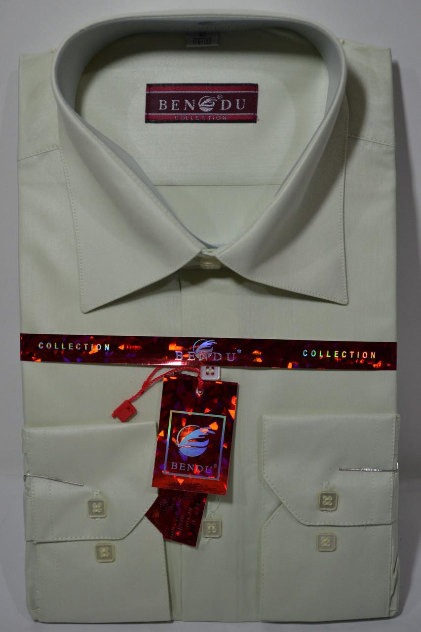 Оливковая приталенная мужская рубашка BENDU (размеры 38,39,40,41,42)