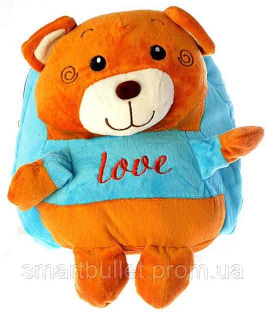 """Детский рюкзак игрушка """"Мишка"""" голубой 0407"""