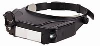 Очки лупа с подсветкой 81007, 2 встроенных фонарика, подвижная линза, увеличение объектов 1,5-11 раз