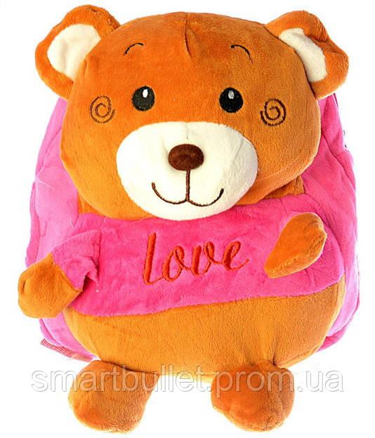 """Детский рюкзак игрушка """"Мишка"""" розовый 0407"""