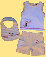 Трикотажный летний комплект одежды для новорожденных, 3 предмета