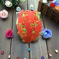 Перья гуся декоративные Оранжевые кучерявые Основа 12x15 см 1 шт, фото 1