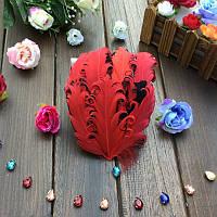 Перья гуся декоративные Красные кучерявые Основа 12x15 см 1 шт, фото 1