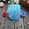Перья гуся декоративные Голубые кучерявые Основа 12x15 см 1 шт