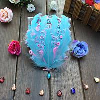 Перья гуся декоративные Голубые кучерявые Основа 12x15 см 1 шт, фото 1
