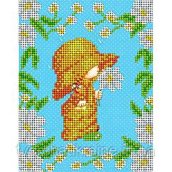 Схема на ткани для вышивания бисером Ромашковая детка