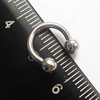 Подкова для пирсинга: диаметр 8 мм, толщина 1.6 мм, шарики диаметр 4 мм . Сталь 316L.