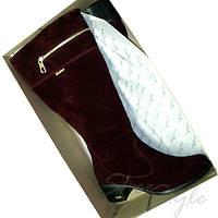 Женские замшевые бордовые сапоги с декоративной молнией на низком каблуке Баталы