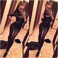 Женское мини платье из экокожи 8866
