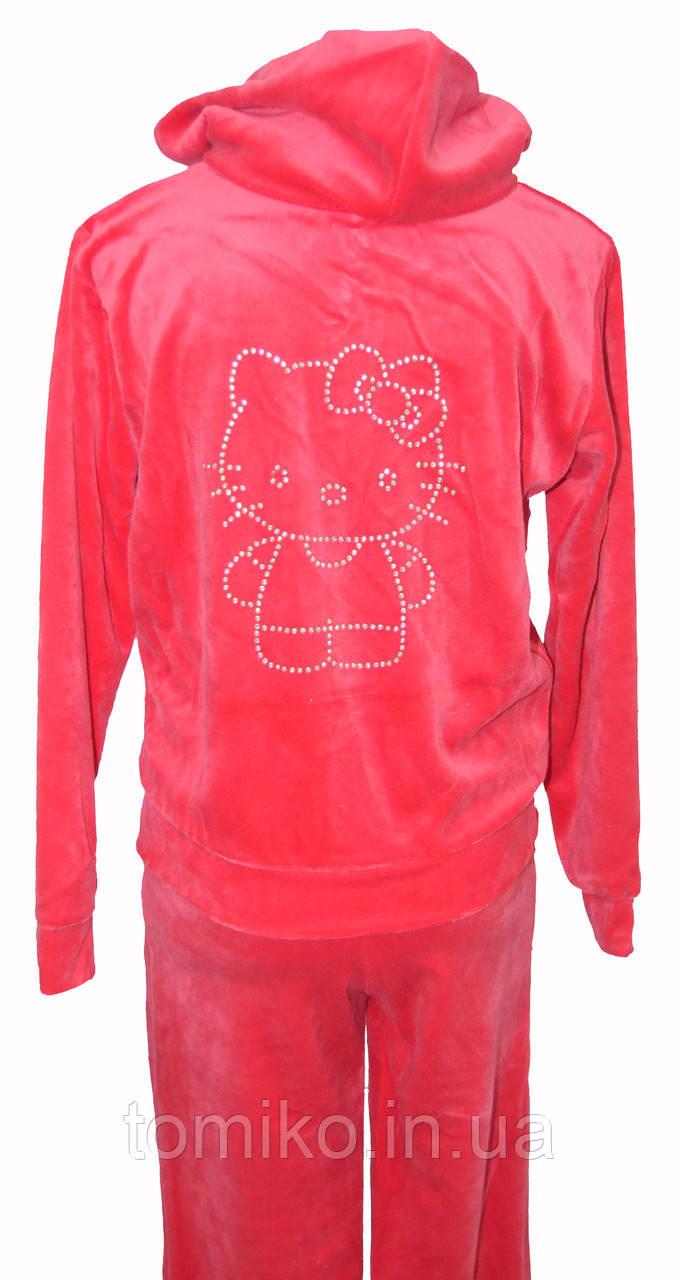 """Детский Велюровый Костюм """"Hello Kitty"""" цвет: коралловый"""
