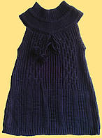 Туника черная детская вязанная, без рукавов, для девочки, р. 120, 130 см