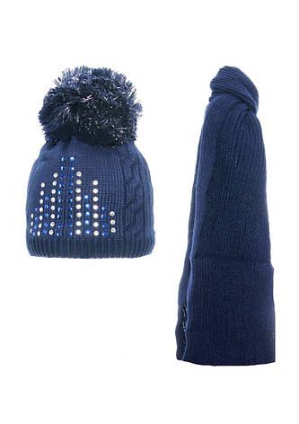 Детская зимняя вязаная шапочка с  шарфиком AGBO Польша, фото 2