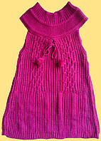 Туника малиновая детская вязанная, без рукавов, для девочки, р. 130 см