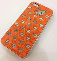 Чехол с камнями Swan для iPhone 5/5S, оранжевый