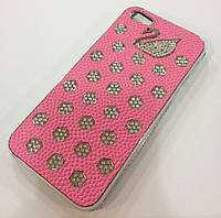 Чехол с камнями Swan для iPhone 5/5S, розовый