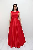 Выпускное атласное красное платье в пол (Т-2017-49)