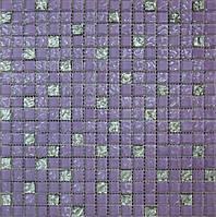 Мозайка микс фиолетовый рельефный-рельефная платина