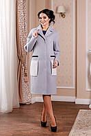 Демисезонное  женское серое  пальто  В-998 Кашемир Тон 40  44-54 размер