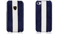 Чехол Nuoku genuine leather c stripe для iPhone 4/4S, синий