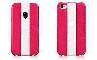 Чехол Nuoku genuine leather c stripe для iPhone 4/4S, розовый