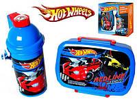 "Набор ""Hot Wheels - №2"". Контейнер для завтрака (ланчбокс) + бутылка с трубочкой"