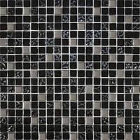 Мозайка микс черный-черный рефленый верх-платина