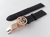 Ремешок к часам Patek philippe черный, кожаный, с фирменной застежкой