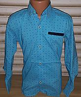 Стильная стрейчевая рубашка для мальчика 6-14 лет (бирюза002) (пр. Турция)