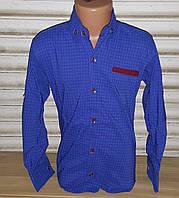 Стильная стрейчевая рубашка для мальчика 6-14 лет (ярко синия 02) (пр. Турция)