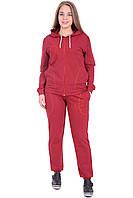 Спортивный костюм темно-красный с карманами и капюшоном большой размер 50