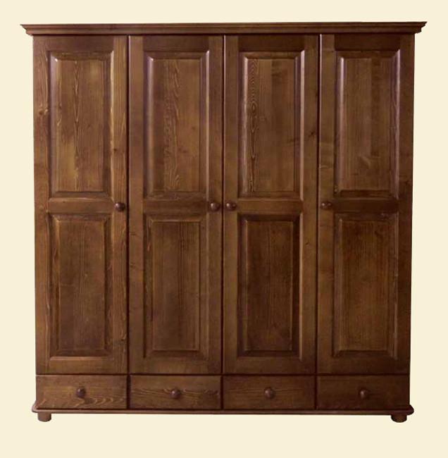 Распашной шкаф на четыре двери из натуральной древесины хвойных пород. Модель ШФ-12 Скиф