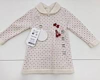 Детское вязаное платье для девочки на 3 - 9 месяцев
