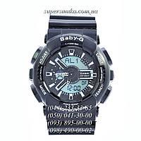 Удобные женские наручные часы GA-110 Baby-G Black-White