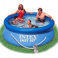 Семейный бассейн с надувным бортом и фильтрующим насосом Intex 244на76см