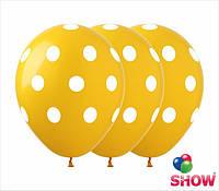 """Латексные воздушные шарики горох на жёлтом 12"""" (30 см)  ТМ Show"""