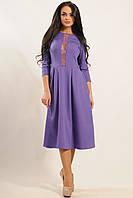 Красивое платье длины миди из костюмной ткани с гипюром юбка солнце 42-52 размера