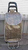 Сумка хозяйственная на колесах, кравчучка леопардовой расцветки с прочными колесами
